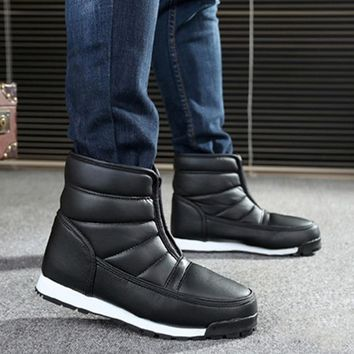 LAKESHI Winter Shoes Men 2018 Waterproof Non-slip Snow Boots Men Platform Warm Ankle Boots Men Boots Work Shoes Plus Size 36-45