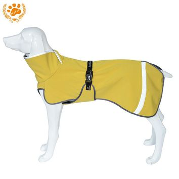 Warm Fleece Linner Winter Dog Clothes Yellow Waterproof Pet Jacket Coat With Reflective Strip For Large Dogs Mascotas VC16-JK004