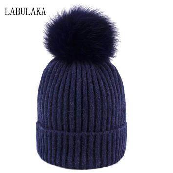 Real Fox Fur Pom Poms Winter Hats for Women Knitted Skullies Beanies Woolen Cap Stylich Girls Warm Cotton Knit Caps Novelty Yarn
