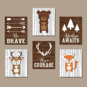 WOODLAND Nursery Art, Woodland Nursery Decor, WOODLAND Animals, Wood Forest Animals, Bear Deer Fox Quotes, Canvas or Prints, Set of 6