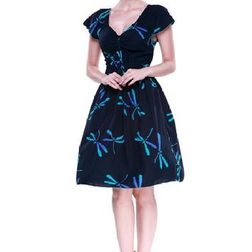 Hula Hula Batik's Women's Hawaiian Rahee Short Sleeve Dress Batik Black Dragonfly