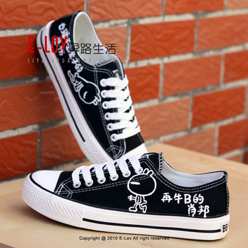 E-LOV B3  Painting Designs Hand-Painted Canvas Shoes Personalized Adult Casual Shoes Cute Platform Shoes
