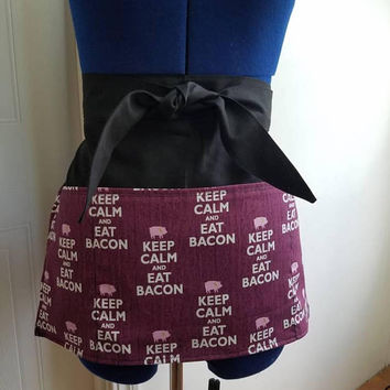 Diner - waitress - bacon - bbq -  donut - shop - coffee - shop - restaurant - pinup - rockabilly - style - half - apron - w/ - pockets
