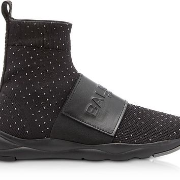 Balmain Cameron Black Studded Nylon and Leather Sock Sneakers
