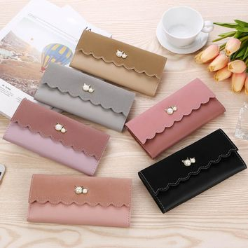 2018 Fashion Women Simple Retro Patchwor Long Wallet Card Hoders PU Leather Multifunctional Solid Coin Bag Purse Dtoship 10Jul 6