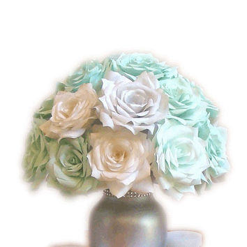 Mint Green Wedding Centerpiece, Bridal table Centerpiece, Reception decor, Bridal shower decor, baby shower decor, silver wedding decor