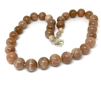 Sunstone Necklace Sterling Silver Sunstone Beaded Necklace Knotted Natural Stone Peach Gold Nude 18 inches Adjustable Silver 925