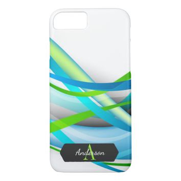 Aqua and Green Streamer Abstract Monogrammed iPhone 7 Case