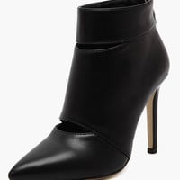 Cut Out Pointed Toe Stiletto Heel Booties