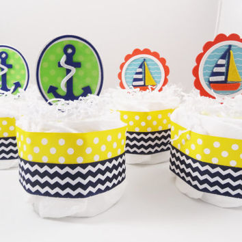 Nautical Mini Diaper Cakes set of 4 Baby Shower decor