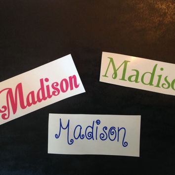 Vinyl Name Decal/Sticker for Water Bottle/School/Diaper Bags/Lunch Box