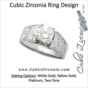 Cubic Zirconia Engagement Ring- The Kristine (1.0 CT Round Setting with Hand-Engraved Band and 2 Two-Tone Peekaboo Accent Gems)