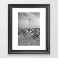 Swanage Jetty in Mono Framed Art Print by Linsey Williams Art