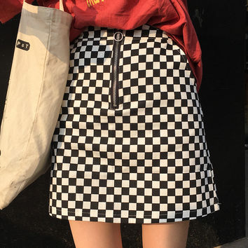SLIM CHECKERED SKIRT
