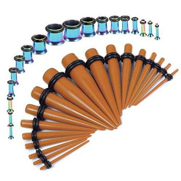 BodyJ4You Gauges Kit Brown Tapers Rainbow Plugs Steel 14G-00G Stretching Set 36 Pieces