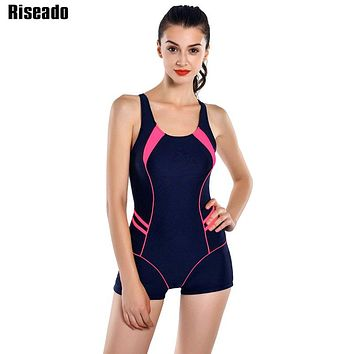 Riseado New 2018 One Piece Swimsuits Patchwork Swimwear Women Boyshort Racer Back Bathing Suits Women's Swimming Suit