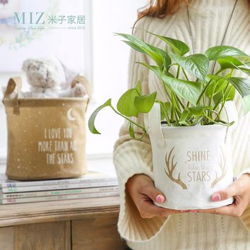 Miz Storage Basket Home Organizer Zakka Lined Sundries Holder Storage Bag Flower Pot