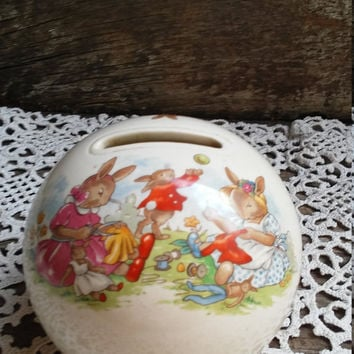 Bunny Bank, Bunnykins ROYAL DOULTON, Bunny Bank, Tableware Limited, 1936, Ceramic, Original Plug, Childrens Decor, Nursery, Collectible