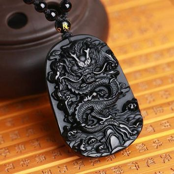 ac spbest Drop Shipping  Unique Natural Black Obsidian Carving Dragon Lucky Amulet Pendant Necklace For Women Men pendants Fashion Jewelry