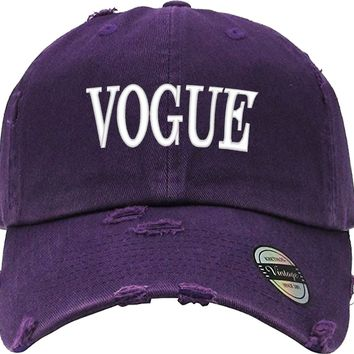 VOGUE Distressed Baseball Hat