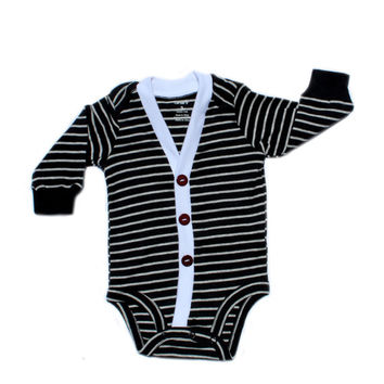 Baby Cardigan - Black with Grey Stripes Preppy Baby Boy Cardi - Perfect for a Winter Baby Shower Gift