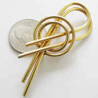 SARAH COVENTRY Modernist Gold Tone Brooch  Circles Spirals Pin J10