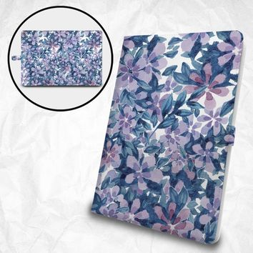 """Purple Floral flip case with personalized monogram for Apple iPad Pro 12.9"""" iPad Pro 11"""" iPad Pro 10.5"""" iPad 9.7"""" iPad Air iPad Mini"""