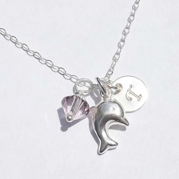 Sterling silver dolphin necklace - Personalized dolphinPendant - birthday, wedding, graduation, bridesmaid, mother, friends