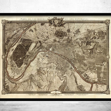 Old Map of Paris, France 1795
