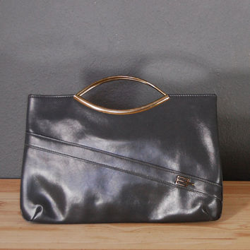 Vintage Grey Purse / Gold Handle / Handbag / Faux Grey Leather / 1980's