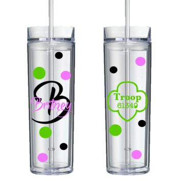 Personalized Hand Crafted Girl Scout Tumbler - Perfect Gift - Free Shipping