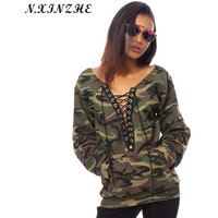 Sexy Deep V-Neck Lace Up Loose Hoodies Women 2017 Spring Summer Camo Print Long Sleeve Casual Army Green Sweatshirts Plus Size