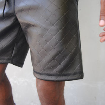 Black Quilted Faux Leather Bermuda Shorts / Mens Shorts / Three Pockets / Handmade by GAG THREADS