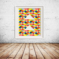 Colorful Geometric Triangle Printable Art, colorful wall art, wall decor, gallery wall decoration, home decoration