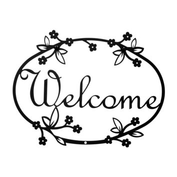 Wrought Iron Floral Welcome Home Sign Medium