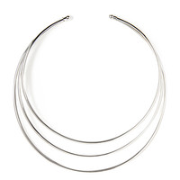 FOREVER 21 Sleek Layered Bib Necklace Silver One