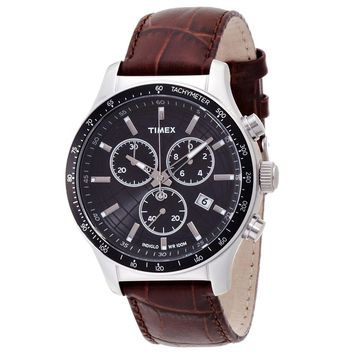 Timex T2N819 Men's Classics Indiglo Chronograph Black Dial Brown Leather Strap Watch