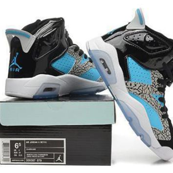 Hot Air Jordan 6 Retro Women Shoes Black Blue Grey