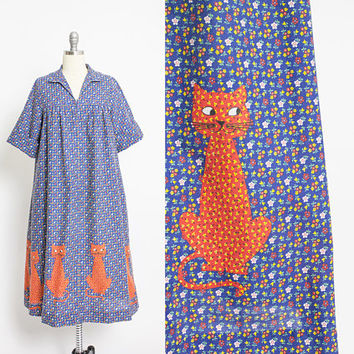 Vintage 1970s Smock Dress - CATS Novelty Print Calico Cotton Tent Sack - Medium