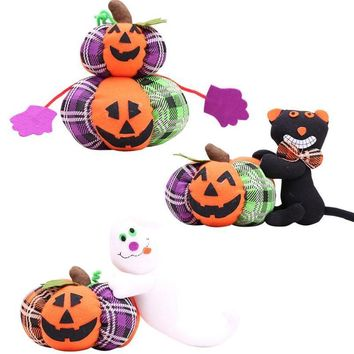 1Pc Cartoon Plush Standing Doll Retractable Doll Pumpkin/Black Cat/Ghost Stuffed Toy Halloween Party Supplies Dolls FES5805