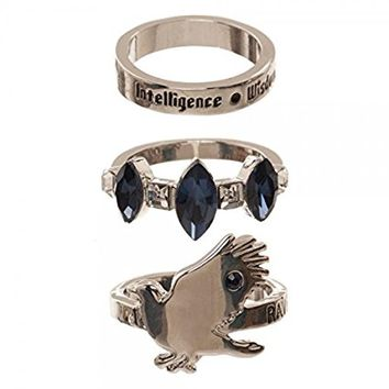 Harry Potter Houses 3 Pack Jeweled Ring Set in Gift Box Gryffindor Huffelpuff Slytherin Ravenclaw (Ravenclaw)