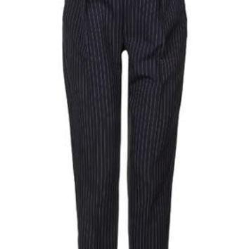MATERNITY Pinstripe Trousers - Navy Blue