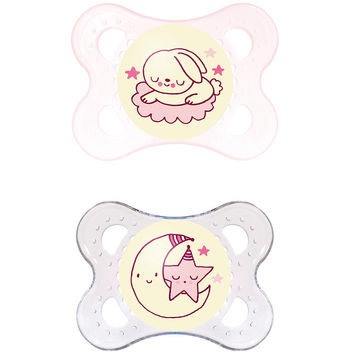 MAM 0-6 Months 2 Pack Glow in the Dark Pacifier - Bunny and Moon (Colors/Styles may vary)