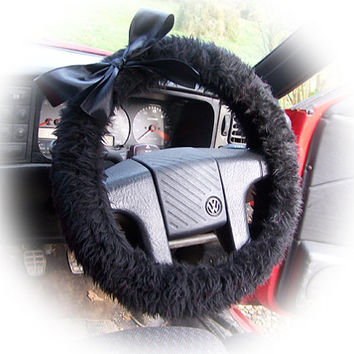 Black steering wheel cover faux furry fur furry fluffy car + Black satin Bow punk emo goth cute halloween