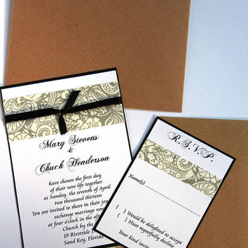Handmade Wedding Invitation Set - Budget Friendly Pocket Invitation Sample Set - 1 Dollar Per Set - FREE SHIPPING