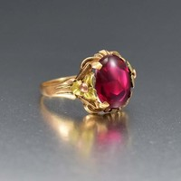 Heavenly Vintage Art Deco Gold and Ruby Ring