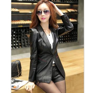 work wear women leather jacket 2017 casual leather coat slim fashion clothing high quality single button jackets and coats