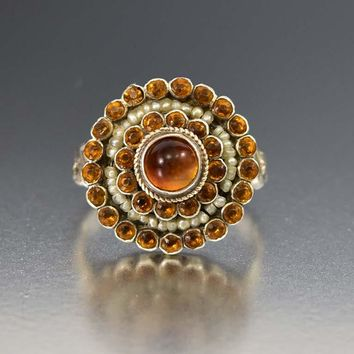 Austro Hungarian Silver Pearl and Citrine Target Ring