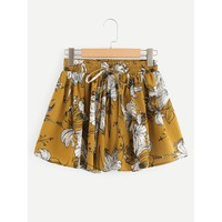 Floral Print Drawstring Skirt Shorts Yellow
