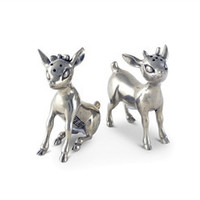 Pewter Reindeer Couple Salt and Pepper Shaker Set